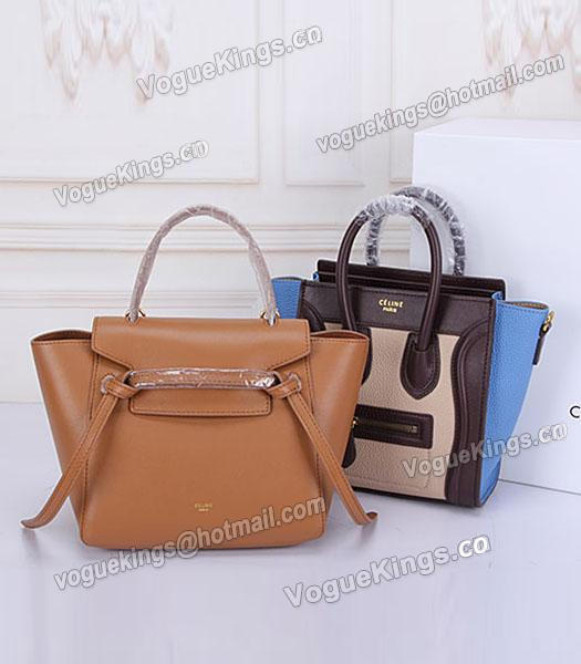 Celine Belt Small Tote Bag Light Coffee Leather-7