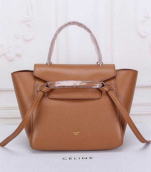 Celine Belt Small Tote Bag Light Coffee Leather