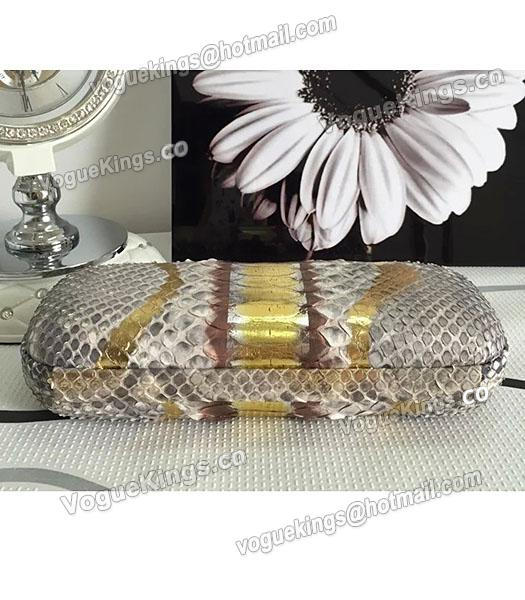 Bottega Veneta 25cm Knot Snake Veins Leather Clutch Bag Apricot&Gold-2