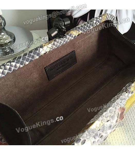 Bottega Veneta 25cm Knot Snake Veins Leather Clutch Bag Apricot&Gold-5
