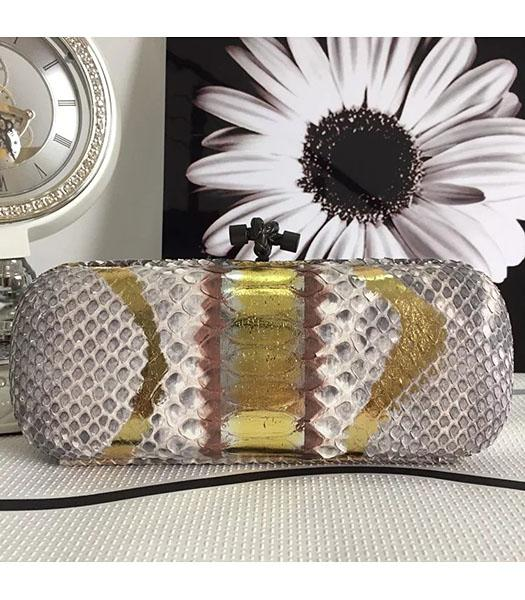 Bottega Veneta 25cm Knot Snake Veins Leather Clutch Bag Apricot&Gold
