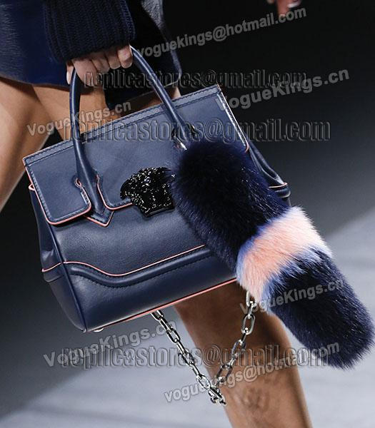 Versace 31cm Palazzo Empire Original Calfskin Leather Tote Bag Dark Blue-4