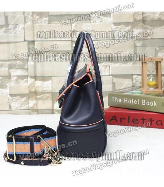 6aab724df4 ... Versace Palazzo Empire Original Calfskin Leather Small Tote Bag Dark  Blue-3 ...