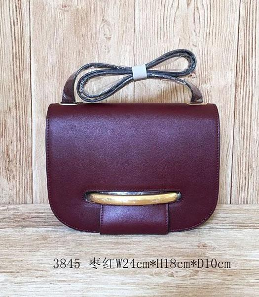 Mulberry Latest Style Jujube Red Leather Crossbody Bag
