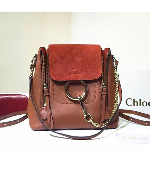 Chloe Latest Jujube Red Suede Leather 23cm Small Backpack