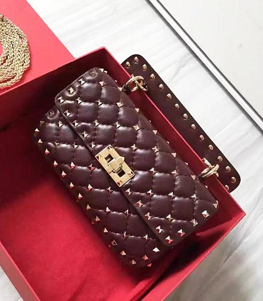 Valentino Golden Rivets Sheepskin Leather 20cm Small Bag Jujube Red