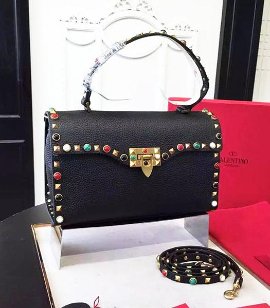 Valentino Golden Rivets Colorful Jewels Calfskin Leather Tote Bag Black