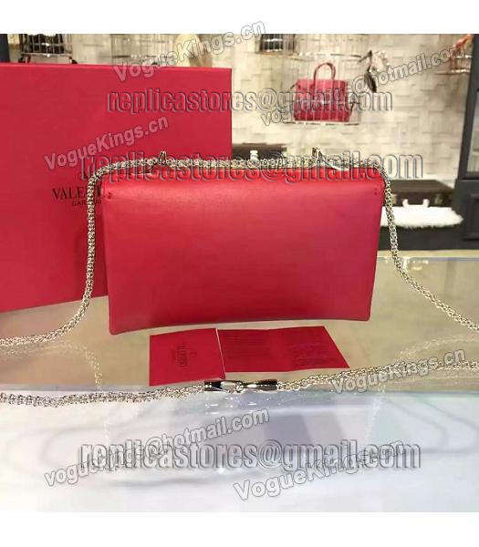 Valentino Rivets Calfskin Leather Golden Chains Bag Red-2