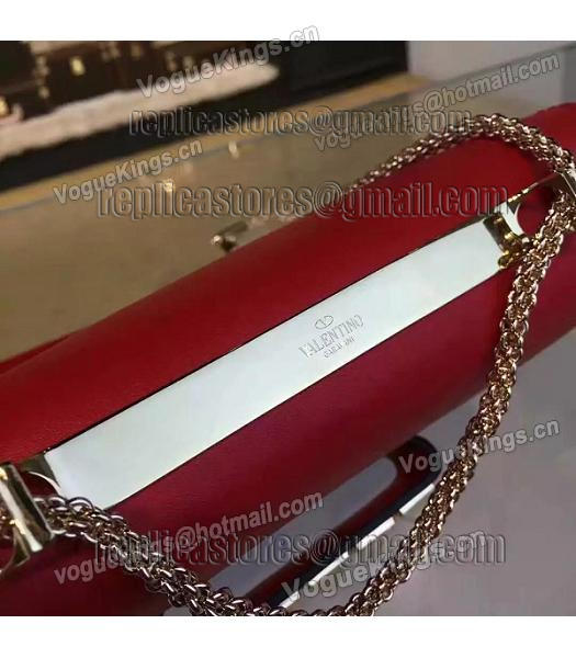 Valentino Rivets Calfskin Leather Golden Chains Bag Red-5