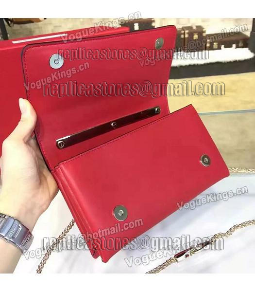 Valentino Rivets Calfskin Leather Golden Chains Bag Red-6