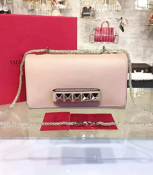 Valentino Rivets Calfskin Leather Golden Chains Bag Pink