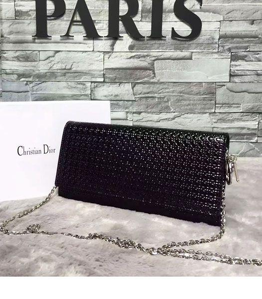 Christian Dior Pearl Black Leather Chains Small Bag