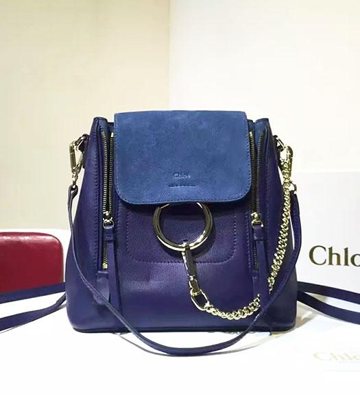 Chloe Latest Sapphire Blue Suede Leather 23cm Small Backpack