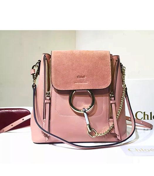 Chloe Latest Pink Suede Leather 23cm Small Backpack