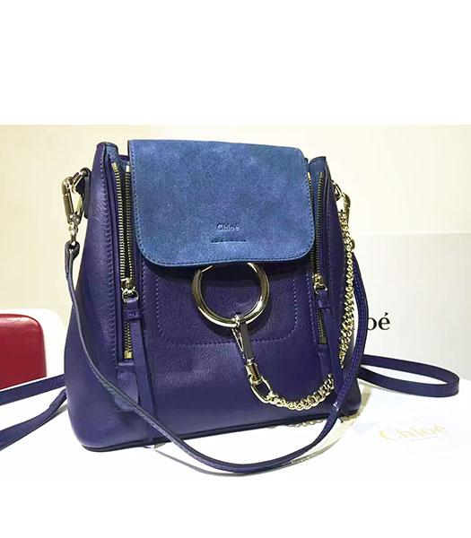 Chloe Latest Sapphire Blue Suede Leather 28cm Backpack