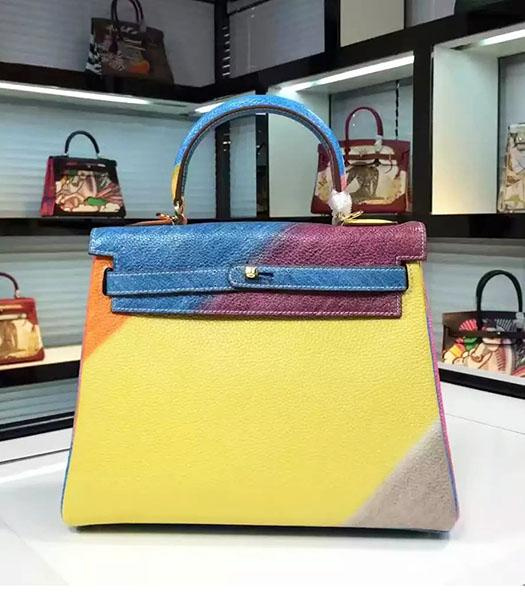Hermes Kelly 28cm Original Leather Lace Tote Bag Blue&Yellow