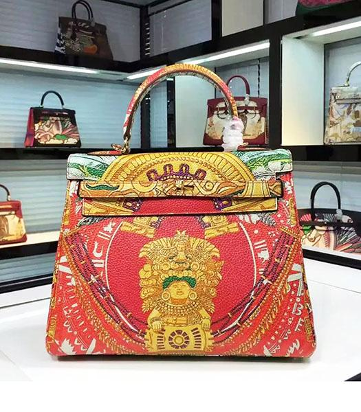 Hermes Kelly 28cm Original Leather Lace Tote Bag Red Inside