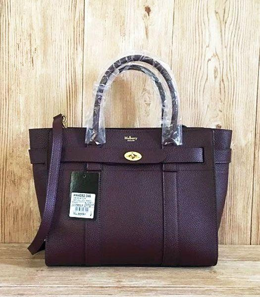 Mulberry Litchi Veins Leather Top Handle Small Bag Jujube Red