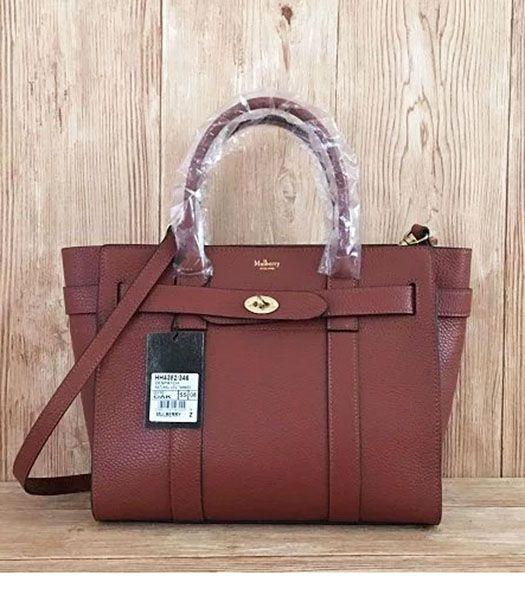 Mulberry Litchi Veins Leather Top Handle Small Bag Coffee