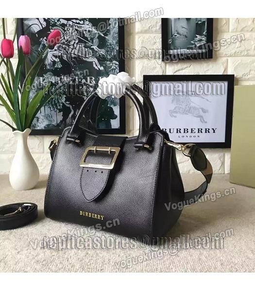 Burberry Imported Calfskin Leather The Buckle Small Tote Bag Black-1