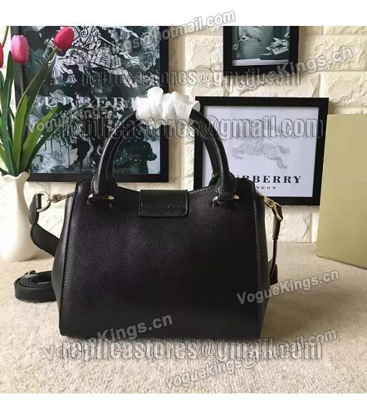 Burberry Imported Calfskin Leather The Buckle Small Tote Bag Black-3