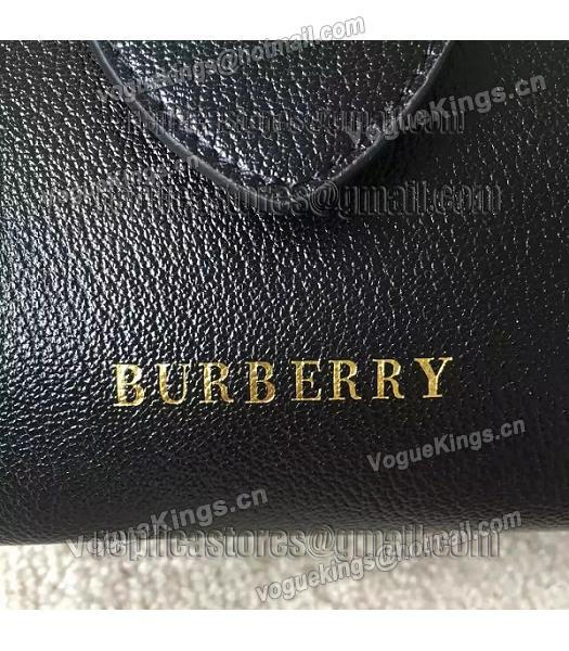 Burberry Imported Calfskin Leather The Buckle Small Tote Bag Black-4