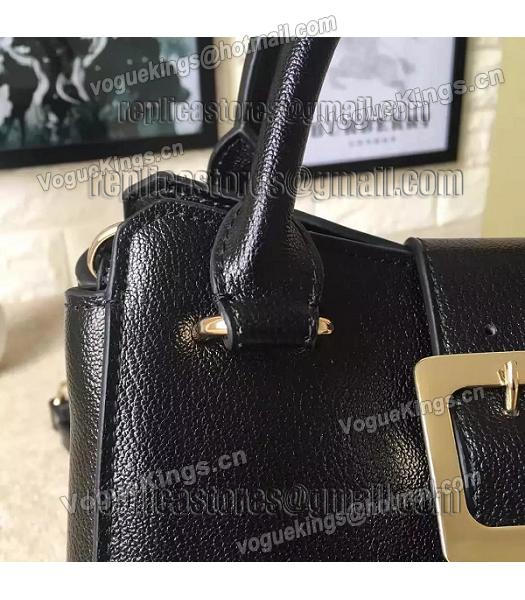 Burberry Imported Calfskin Leather The Buckle Small Tote Bag Black-6