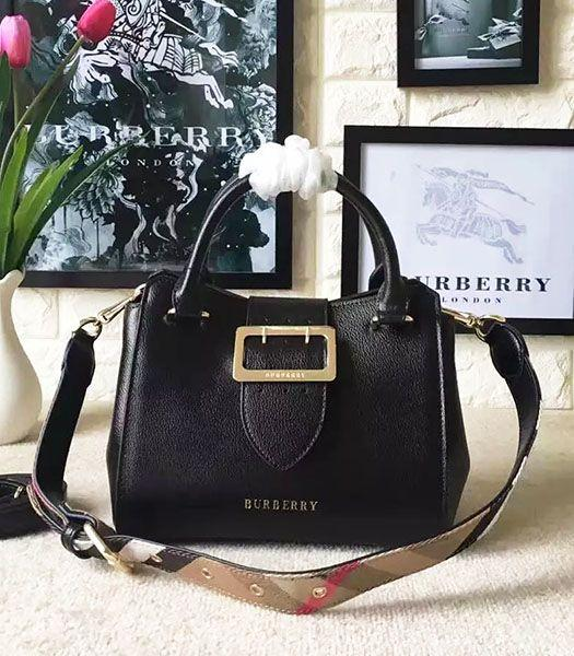 Burberry Imported Calfskin Leather The Buckle Small Tote Bag Black