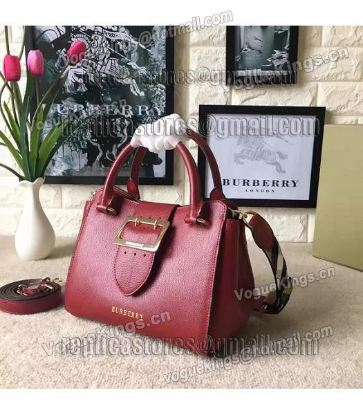 Burberry Imported Calfskin Leather The Buckle Small Tote Bag Red-1