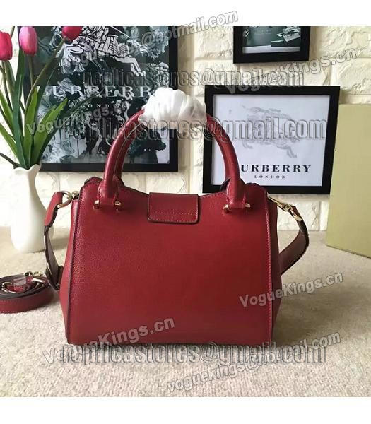 Burberry Imported Calfskin Leather The Buckle Small Tote Bag Red-2