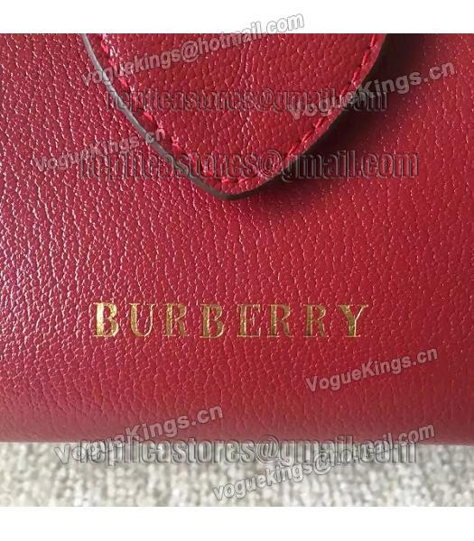 Burberry Imported Calfskin Leather The Buckle Small Tote Bag Red-3