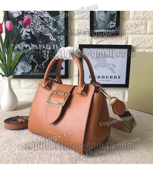 Burberry Imported Calfskin Leather The Buckle Small Tote Bag Brown-1
