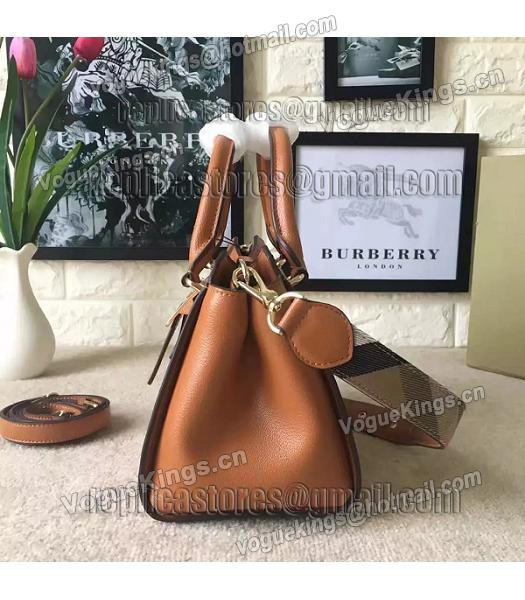 Burberry Imported Calfskin Leather The Buckle Small Tote Bag Brown-2