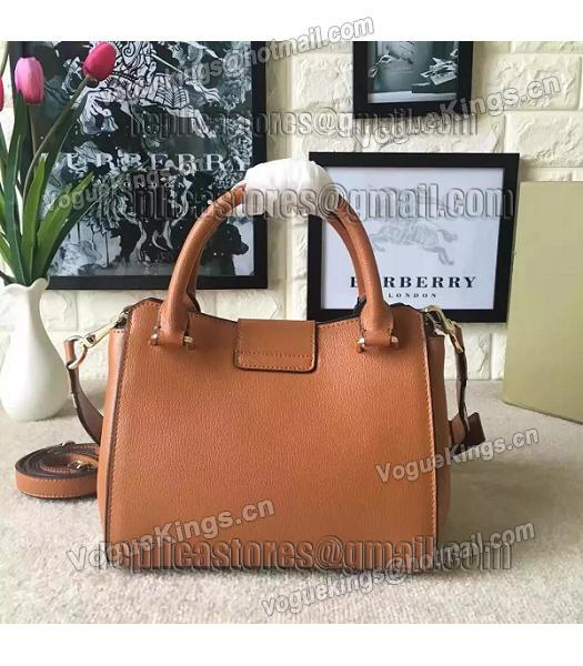 Burberry Imported Calfskin Leather The Buckle Small Tote Bag Brown-3