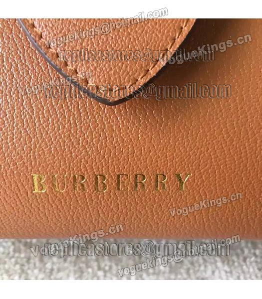 Burberry Imported Calfskin Leather The Buckle Small Tote Bag Brown-4