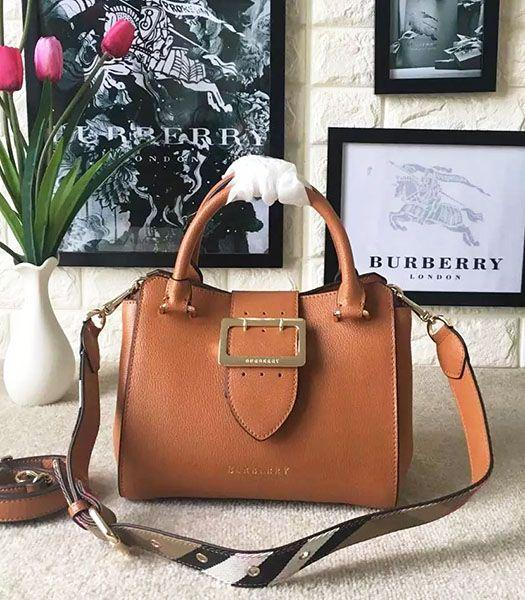 Burberry Imported Calfskin Leather The Buckle Small Tote Bag Brown