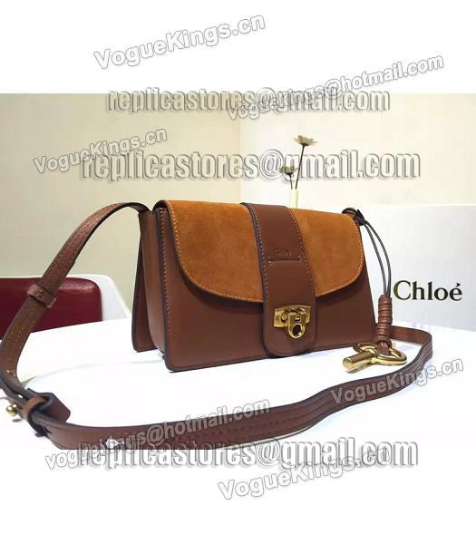 Chloe Lexa Brown Leather Keys Casusal Shoulder Bag-2