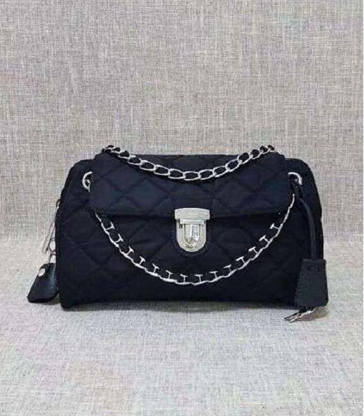 Prada Cross Veins Quilted Black Shoulder Bag Silver Chains