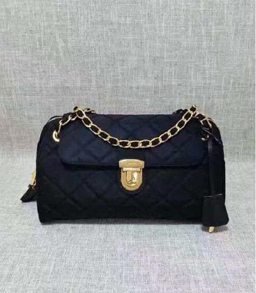 Prada Cross Veins Quilted Black Shoulder Bag Golden Chains