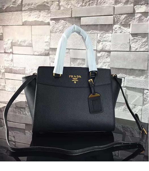 Prada Litchi Veins Calfskin Leather Shoulder Bag Black