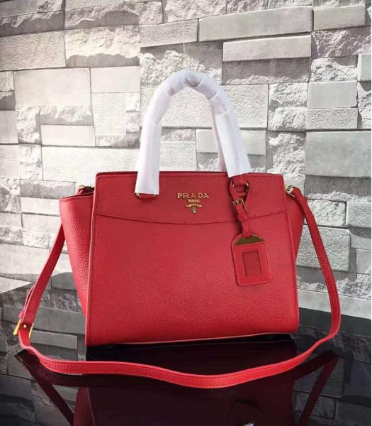 Prada Litchi Veins Calfskin Leather Shoulder Bag Red