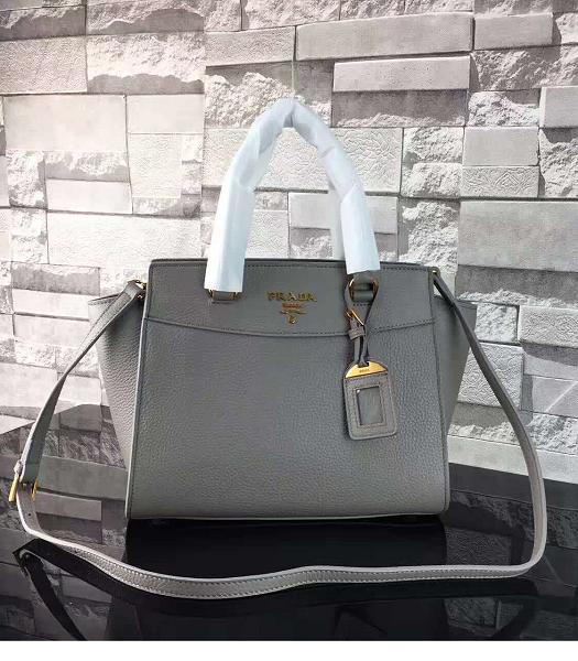 Prada Litchi Veins Calfskin Leather Shoulder Bag Grey