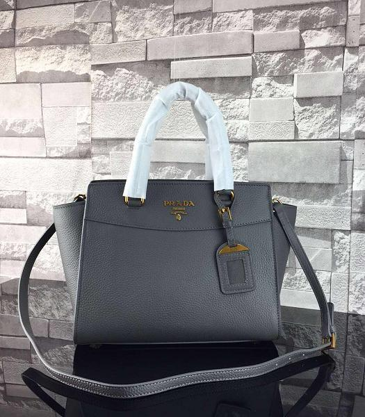 Prada Litchi Veins Calfskin Leather Shoulder Bag Dark Grey