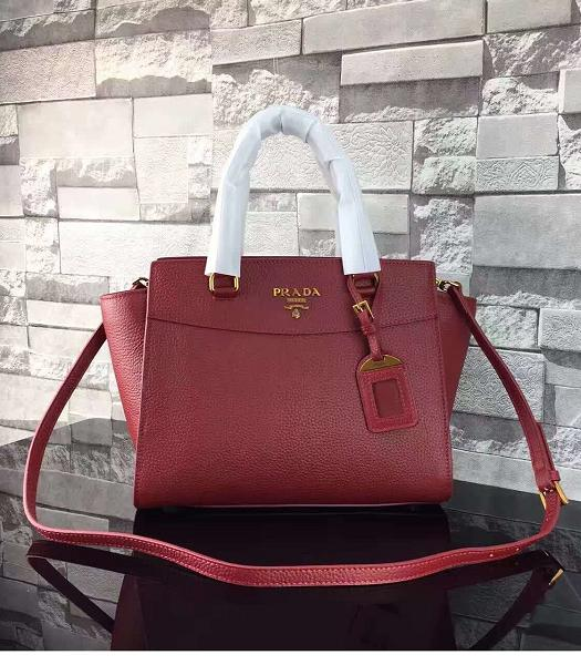 Prada Litchi Veins Calfskin Leather Shoulder Bag Jujube Red