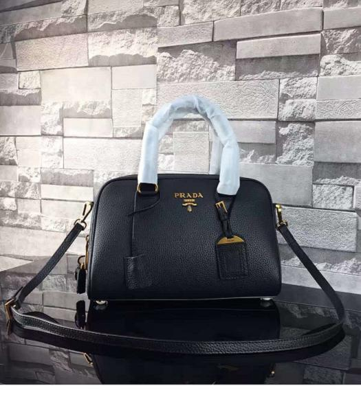 Prada Litchi Veins Calfskin Leather Small Tote Bag Black