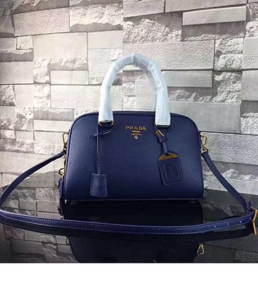 Prada Litchi Veins Calfskin Leather Small Tote Bag Sapphire Blue
