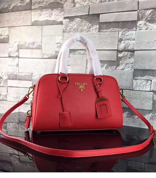 Prada Litchi Veins Calfskin Leather Small Tote Bag Red