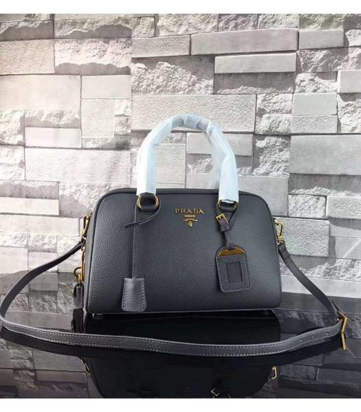 Prada Litchi Veins Calfskin Leather Small Tote Bag Dark Grey