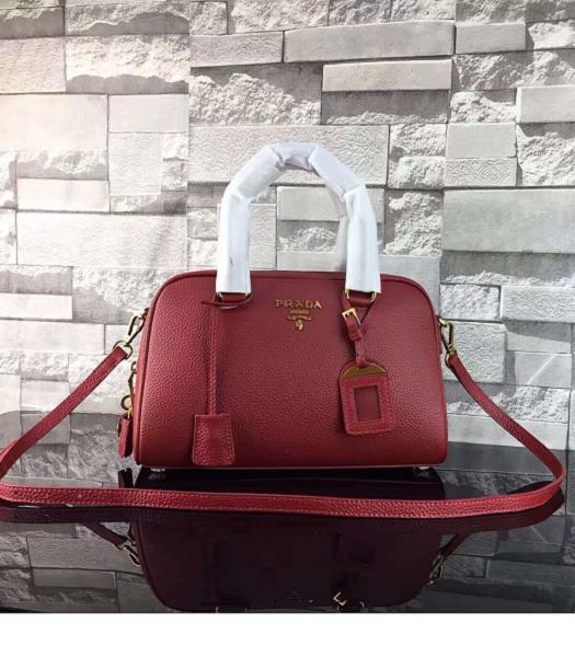 Prada Litchi Veins Calfskin Leather Small Tote Bag Jujube Red