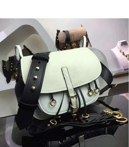 Prada Cross Veins White Leather Shoulder Bag